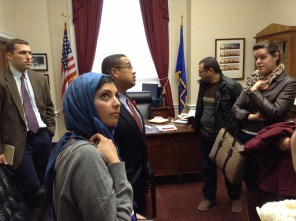 Ellison welcomes visiting Palestinian journalists.