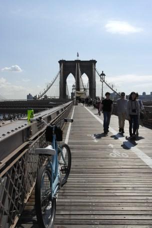 Biking down Brooklyn Bridge