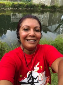 Neha Majmudar smiles brightly after her run!