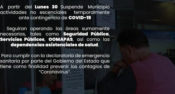 Suspende Gobierno de Nogales actividades por contingencia sanitaria