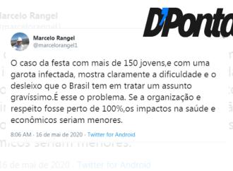 """""""A festa com 150 pessoas mostra o desleixo que o Brasil tem em tratar um assunto gravíssimo"""", diz Rangel"""
