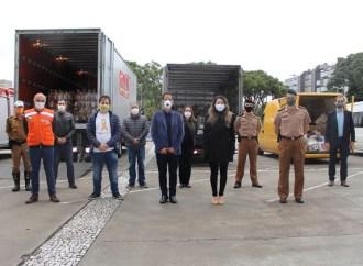 Servidores da Secretaria da Segurança Pública do Paraná arrecadam mais de 20 toneladas de alimentos para campanha 'Cesta Solidária'