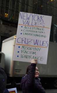 New York values: acceptance, cooperation, understanding. Cruz values: misogyny, racism, ignorance.