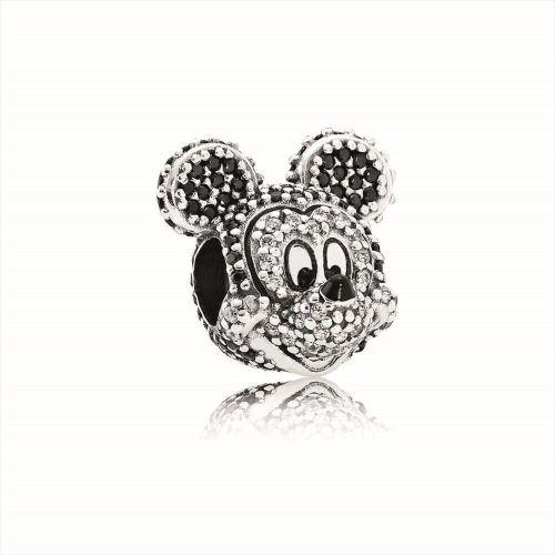 (限定品)ミッキーチャーム<Sparkling Mickey Portrait silver charm with cubic zirconia, black crystals> 1万4000円 (c)Disney