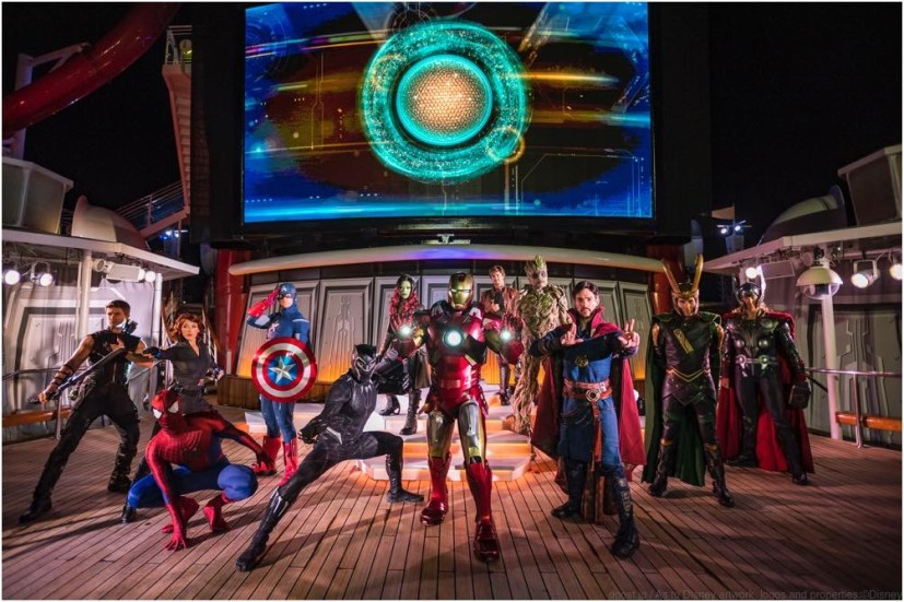 """The """"Marvel Heroes Unite"""" deck show during Marvel Day at Sea combines special effects, stunts, pyrotechnics and music to create a sensational stunt show spectacular on the upper decks. The event features all-day entertainment celebrating the renowned comics, films and animated series of the Marvel Universe. (Matt Stroshane, photographer)"""