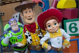 """BELOVED CHARACTERS COMING TO TOY STORY LAND AT WALT DISNEY WORLD RESORT (LAKE BUENA VISTA, Fla.) – Buzz Lightyear, Sheriff Woody and Jessie the Yodeling Cowgirl from Disney•Pixar's """"Toy Story"""" films will interact with guests in the new Toy Story Land when it opens June 30 at Disney's Hollywood Studios in Lake Buena Vista, Fla. This new 11-acre land will transport Walt Disney World guests into the adventurous outdoors of Andy's backyard where they will feel like they have shrunk to the size of a toy. (David Roark, photographer)"""