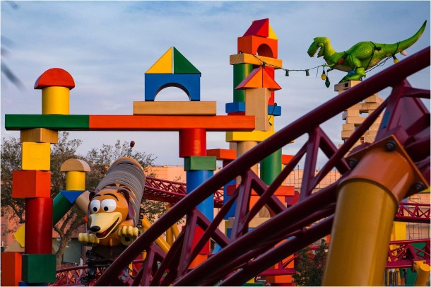 TOY STORY LAND AT WALT DISNEY WORLD RESORT (LAKE BUENA VISTA, Fla.) —Toy Story Land at Walt Disney World Resort in Florida opens June 30, 2018. Located at Disney's Hollywood Studios, the new 11-acre Land will make guests feel like they have shrunk to the size of a toy in the setting of Andy's backyard. Guests will whoosh along on a family-friendly roller coaster, Slinky Dog Dash (pictured under development), take a spin aboard Alien Swirling Saucers and score high on the midway at Toy Story Mania! (Matt Stroshane, photographer)