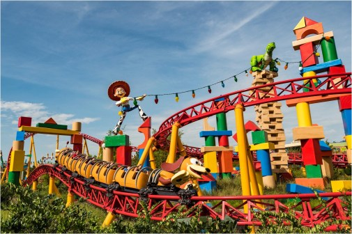 Slinky Dog's coils twist and turn around the curves, hills, and drops of Slinky Dog Dash at Toy Story Land at Disney's Hollywood Studios. The family-friendly coaster is inspired by the hit Pixar Animation Studios' Toy Story films, and is Disney's first coaster with a double-launch. Walt Disney World Resort guests get to race and dive around a track that stretches across Toy Story Land. (Matt Stroshane, photographer)