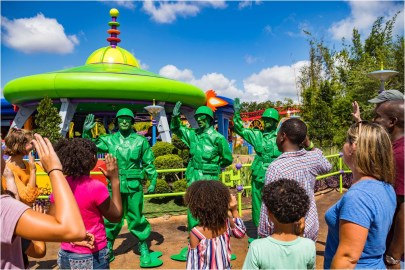 "Green Army Men await guests who visit Toy Story Land at Disney's Hollywood Studios. They march through the land several times a day and stop to play ""Sarge Says"" with guests, plus other games. The 11-acre land transports Walt Disney World guests into the adventurous outdoors of Andy's backyard, where they will feel like they are the size of a toy. (Matt Stroshane, photographer)"