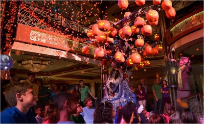 Disney Cruise Line will treat guests sailing this fall to a wickedly good time as the Disney ships transform into a ghoulish wonderland during Halloween on the High Seas cruises. For this extra-spooky celebration, each ship boasts its own signature Pumpkin Tree, which magically transforms throughout the cruise with the help of a storytelling caretaker. (Todd Anderson, photographer)