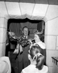 AMERICAÕS PRINCESS -- Former child star and future diplomat Shirley Temple joins Walt Disney at the opening of the Sleeping Beauty Castle walkthrough at Disneyland on April 29, 1957. The walkthrough, located inside the iconic castle, featured the story of Disney's 'Sleeping Beauty' told through a series of dioramas. A new walkthrough will open in Sleeping Beauty Castle at Disneyland in time for the December holidays.