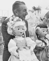 """WALT DISNEY -- Walt Disney """"meets"""" some residents of the 'itÕs a small world' attraction at Disneyland in California, during construction in May, 1966. One of the most popular Disney attractions of all time, the show is a fun-filled and whimsical salute to the children of the world that conveys its message of peace and harmony through the international language of music."""