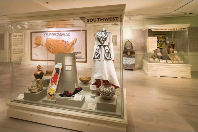 "The Walt Disney World gallery exhibition ""Creating Tradition: Innovation and Change in American Indian Art"" in The American Adventure pavilion at Epcot showcases the work of contemporary Native artists alongside artifacts from centuries past. The pieces demonstrate how ancestral American Indian craftsmanship influences modern generations of Native artists. The exhibition features items on loan from the Smithsonian's National Museum of the American Indian, the Museum of Indian Arts and Culture, the Seminole tribe, the Potawatomi tribe and Richard Hammel. (David Roark, photographer)"