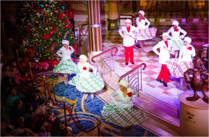 """Santa's Winter Wonderland Ball,"" a grand celebration during Very Merrytime Cruises, features Broadway-style entertainment, favorite Disney characters and classic holiday tunes. (Chloe Rice, photographer)"