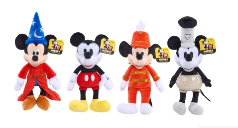 Licensee: Just Play MSRP: $7.99 each Description: Celebrate 90 years of Mickey, The True Original with the Mickey's 90th Anniversary Bean Plush! Mickey Mouse comes dressed some of his most iconic styles including: Steamboat Willie Mickey, Pie-Eyed Mickey, Sorcerer's Apprentice Mickey, and Mouseketeer Mickey (each sold separately). These adorable Mickey plush friends are highly detailed and made with soft deluxe fabrics. Both kids and adults will love collecting all iconic versions of Mickey in celebration of his 90th birthday! Availability: 8/20 Retailer: Target