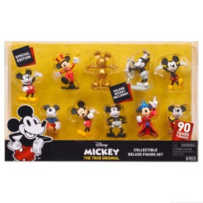 "Licensee: Just Play MSRP: $24.99 Description: Bring home the ultimate Mickey Mouse collection in celebration of Mickey's 90th Anniversary! The Mickey's 90th Deluxe Figure Set comes with 10 highly detailed Mickey Mouse figures and features special 90th Anniversary packaging. Mickey comes dressed in some of the most iconic styles he's worn through the ages including: Plane Crazy Mickey, Pie-Eye Mickey, Sorcerer's Apprentice Mickey, Steam Boat Willie Mickey, Mouseketeer Mickey, Comic Mickey, Clubhouse Mickey, New Shorts Mickey, and exclusive Golden Mickey. Each figure comes in a unique pose and stands 3"" tall – the perfect size for both play and display! Availability: 8/20 Retailer: Target, Amazon, Walmart"