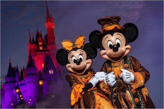 "Eerie lighting, fall décor and Mickey Mouse-shaped Jack-O-Lanterns set the stage at Magic Kingdom for Mickey's Not-So-Scary Halloween Party. The family-friendly after-hours event offers trick-or-treating, meet and greets with favorite characters in costume, plus the must-see ""Mickey's Boo-to-You Halloween Parade"" and ""Happy HalloWishes"" fireworks display. Mickey's Not-So-Scary Halloween Party is a special ticket event and takes place on select nights each fall at Walt Disney World Resort in Lake Buena Vista, Fla. (Matt Stroshane, photographer)"