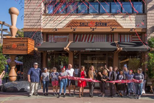 Salt & Straw opens to colorful fanfare Friday, Oct. 12, 2018, at the Downtown Disney District in Anaheim, Calif. Salt & Straw features taste-provoking handmade ice cream with flavors like Dandelion Chocolate, Sightglass Coffee and lavender crafted in small batches using local, organic and sustainable ingredients. Monthly specials showcase flavors rooted in seasonality. Guests can enjoy scoops on handmade waffle cones or order pints and cones to-go. (Joshua Sudock/Disneyland)
