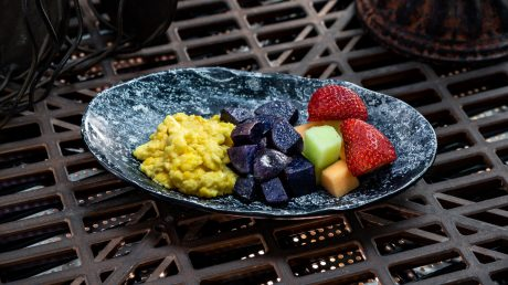 Guests will discover innovative and creative eats from around the galaxy at Star Wars: GalaxyÕs Edge at Disneyland Park in Anaheim, California, and at Disney's Hollywood Studios in Lake Buena Vista, Florida. Guests ages 3 through 9 can enjoy the Bright Suns Youngling Breakfast which is scrambled egg, purple potatoes and fresh fruit. All meals include choice of small low-fat milk or small Dasani¨ Water and can be found at Docking Bay 7 Food and Cargo. (David Nguyen/Disney Parks)