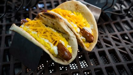 Guests will discover innovative and creative eats from around the galaxy at Star Wars: GalaxyÕs Edge at Disneyland Park in Anaheim, California, and at Disney's Hollywood Studios in Lake Buena Vista, Florida. The Ronto Morning Wrap can be found at Ronto Roasters and is scrambled eggs, grilled pork sausage, shredded cheese and peppercorn sauce wrapped in pita. (David Nguyen/Disney Parks)