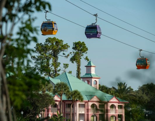 Disney Skyliner will begin carrying guests high above Walt Disney World Resort in Lake Buena Vista, Fla., on Sept. 29, 2019. The state-of-the-art transportation system will feature custom cabins that glide through the air, conveniently transporting guests between Disney's Hollywood Studios and Epcot to four resort hotels – Disney's Art of Animation Resort, Disney's Caribbean Beach Resort, Disney's Pop Century Resort and the new Disney's Riviera Resort, scheduled to open in December 2019. (David Roark, Photographer)