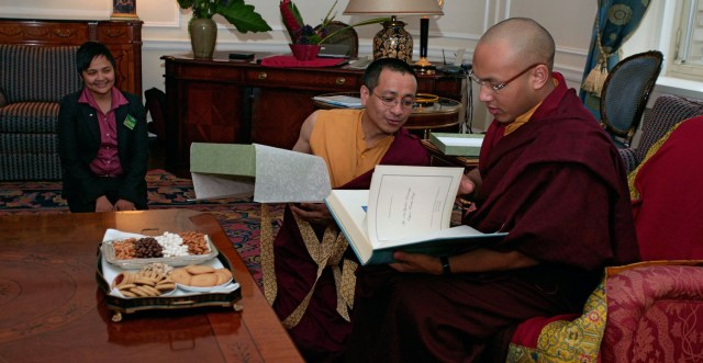 Rinpoche attending to HH The 17th Karmapa during his first visit to America300_155