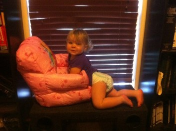 She likes to climb the highest thing she can while dragging her chair to the top of it to sit upon her throne