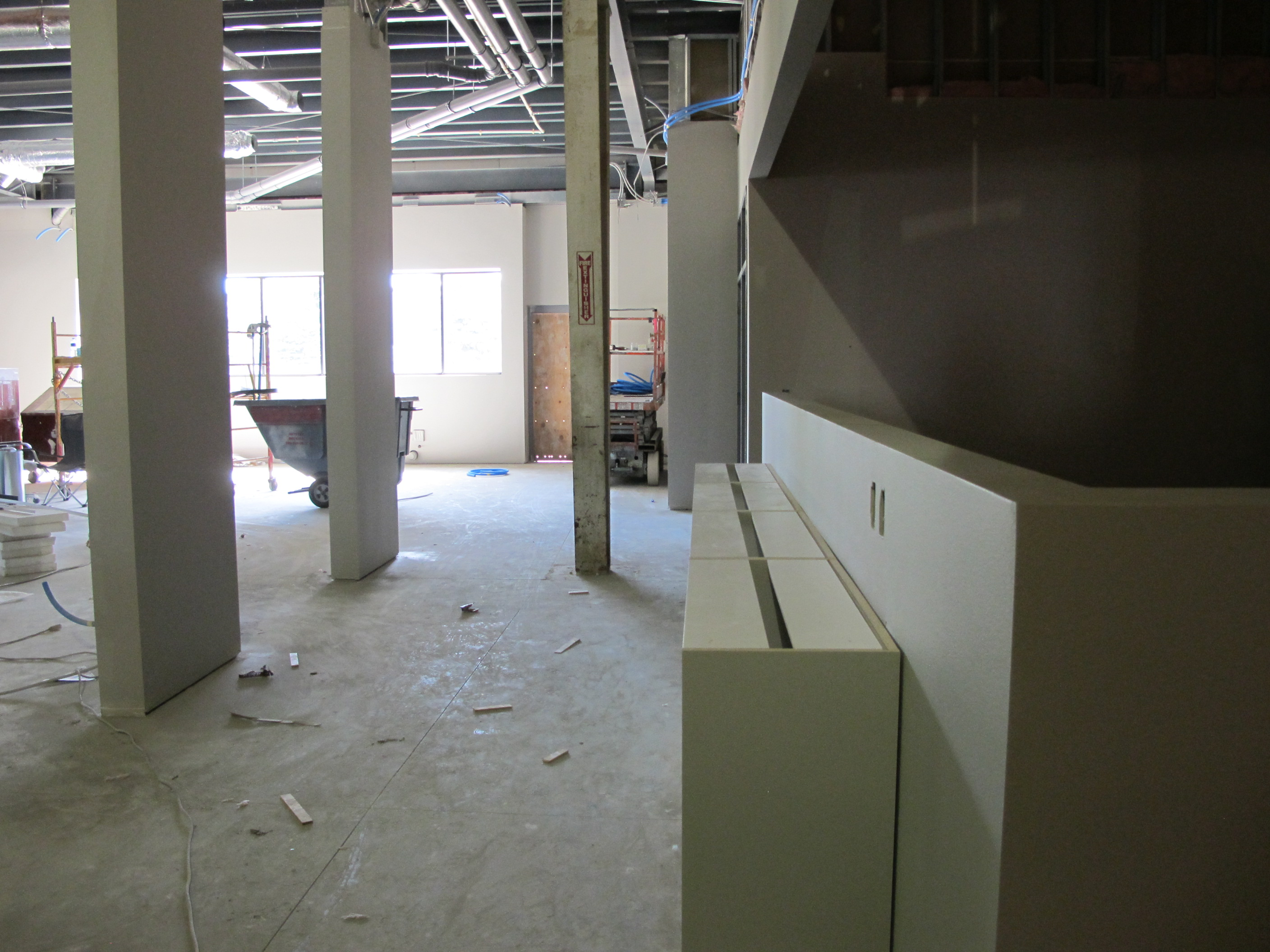 Cabinets being placed near quality control and customer care.