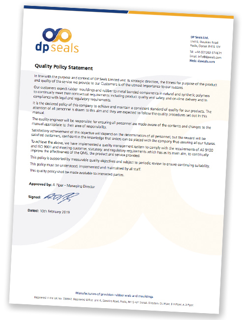 DP Seals' Quality Policy 2019