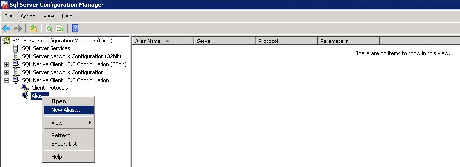Configuração do alias para o SharePoint 2010 conectar ao SQL Server (2/4)