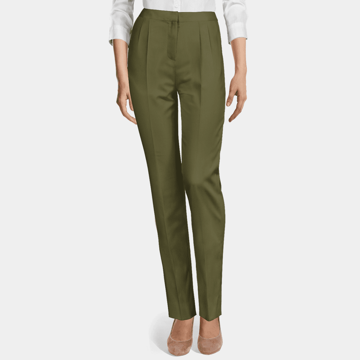 Army Green stretch high waisted pleated Women Dress Trouser 69€ | Sumissura