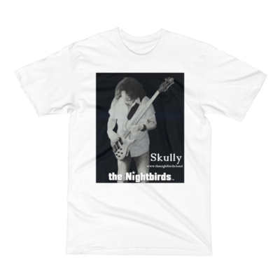 Men's Short Sleeve T-Shirt with the Nightbirds Logo Skully Playing Bass, Black or White