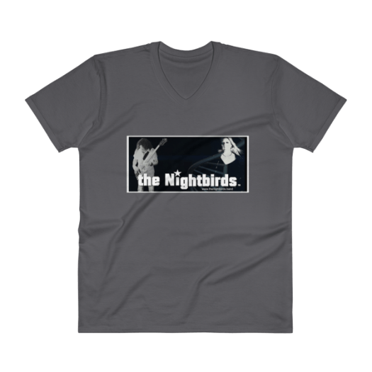 Mens V-Neck T-Shirt the Nightbirds Skully with Bass, Robin, DNA, Multiple Colors Available