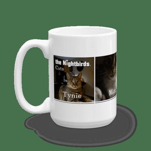 Ceramic Coffee Mug Featuring the Nightbirds Cats Tynie, Mitti, Pebbles & Kimi