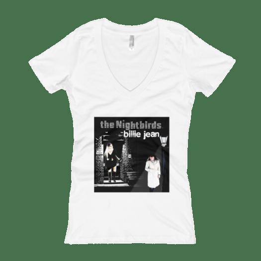 """the Nightbirds """"Billie Jean"""" Theme Women's V-Neck T-shirt 00028"""