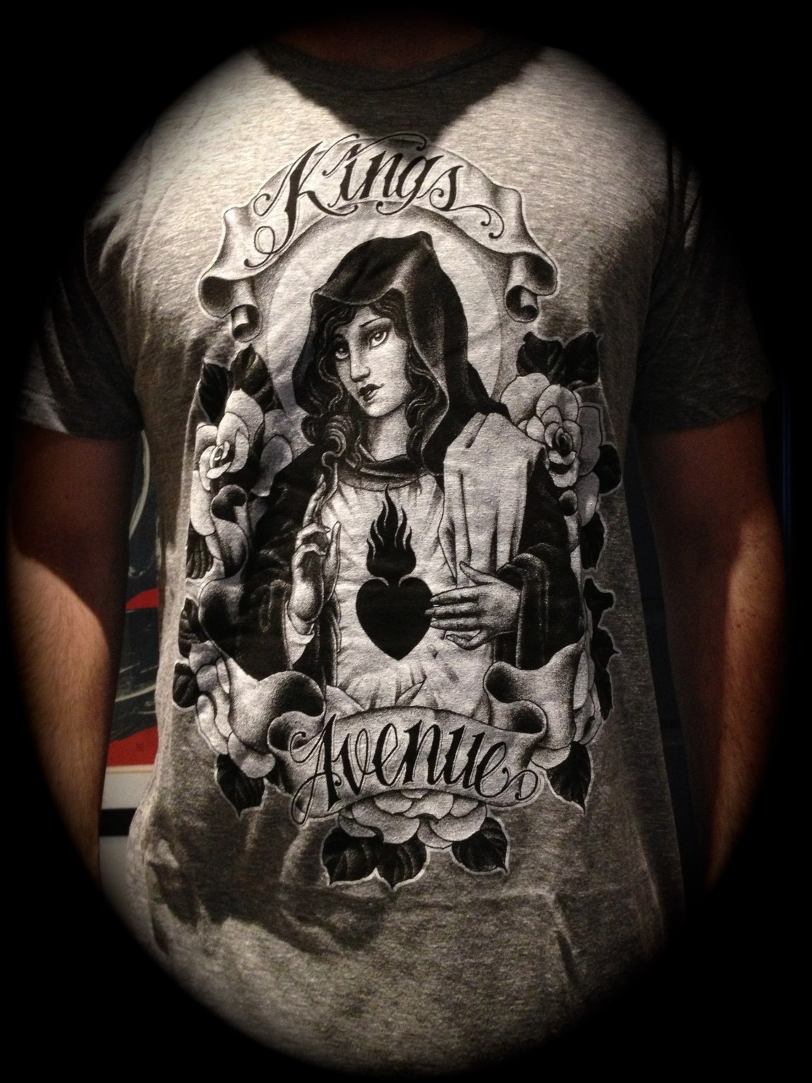 Mary and Roses T-shirt: Athletic Gray