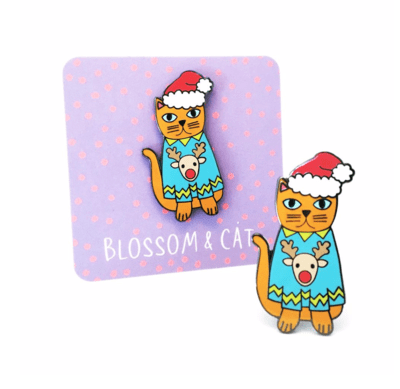 Christmas Cat Pin by Blossom and at