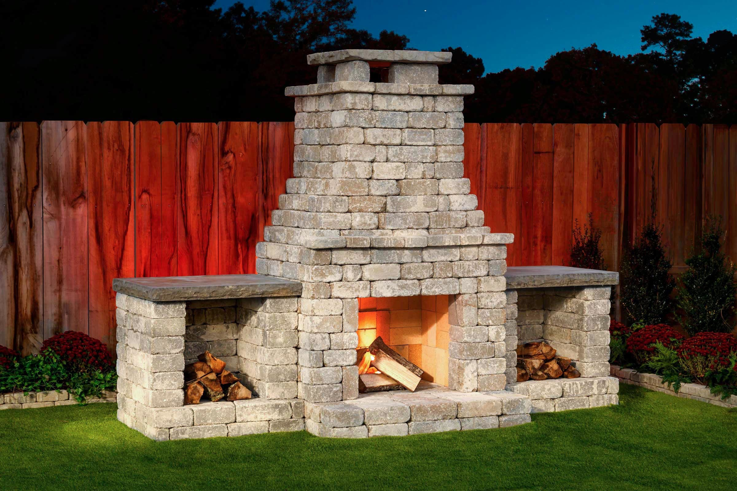 Fremont Fireplace Kit with optional wood storage boxes in Bethany Ledge Blend
