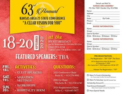 2020 Area 25 Kansas State Conference Pre-Registration