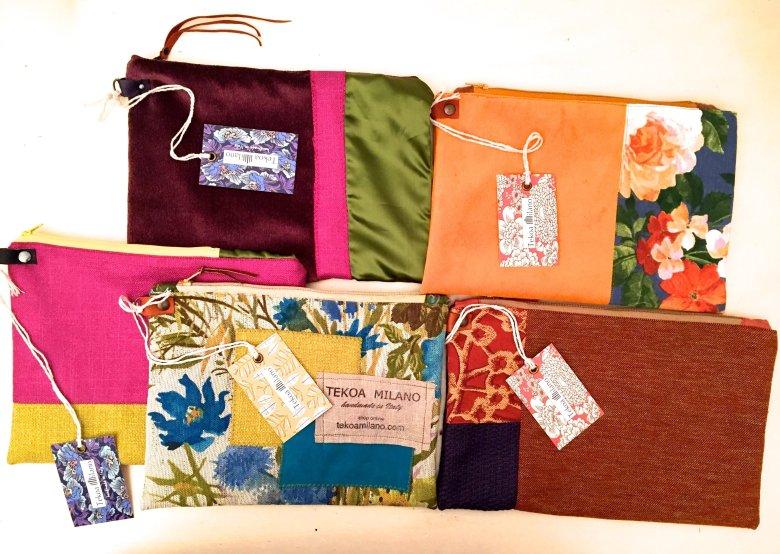 Pochette abbinata negli stessi tessuti della borsa