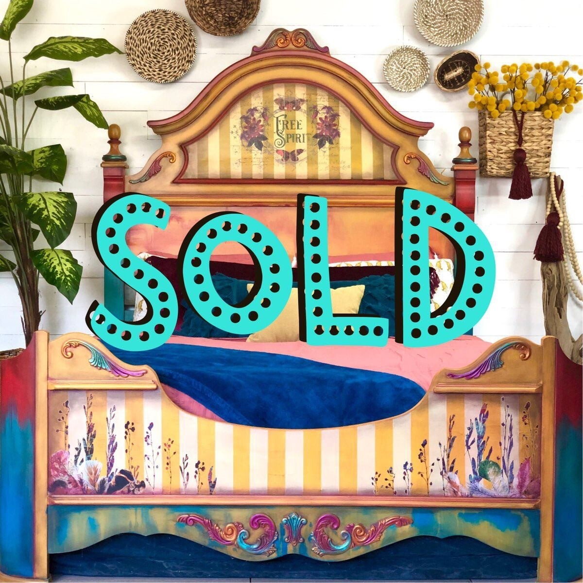 [SOLD] Yellow Boho Gypsy Queen Bed