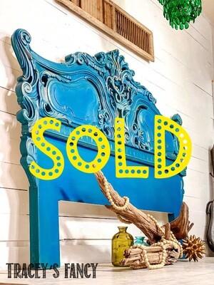 [SOLD] Mediterranean Blue Vintage Headboard