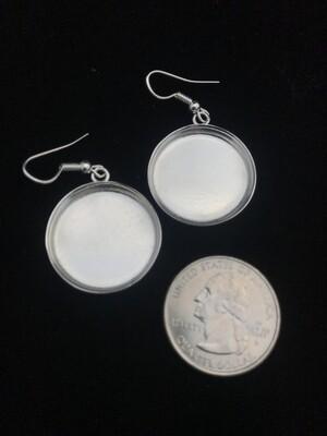 Silver Plated Circular Amate Bezel Earrings