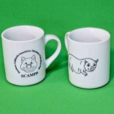 Vintage Matching Pair Of White Ceramic Potbellied Pig Coffee Mugs
