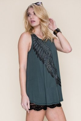 Vocal Angel Wing Tunic Green