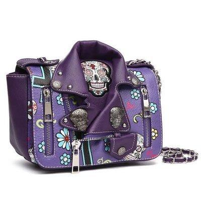 Sugar Skull Biker Jacket Crossbody Handbag