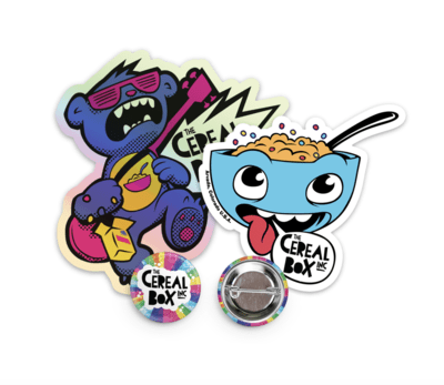 Cereal Box Sticker, Pin & Magnet Pack!
