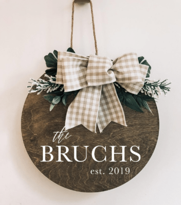 Round Wood Wreaths | Hello Sign | Welcome Sign | Personalized Sign | Flower Wreaths | Farmhouse Bows