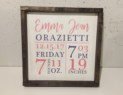 12x12 Birth Stat Wood Signs