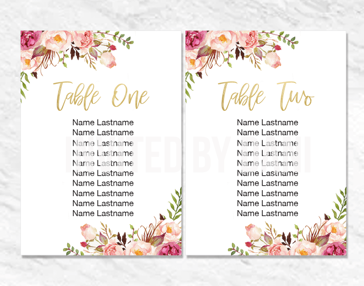 Peonies | Seating Chart Cards | Printable Good 00200